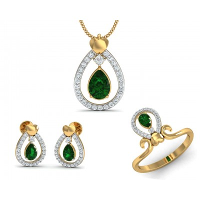 Ameena Emerald Diamond Pendant Set